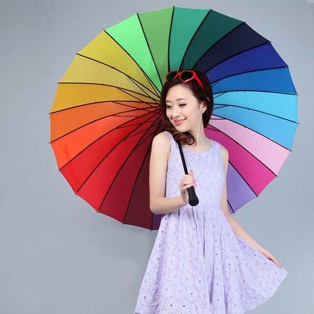 Зонты Руководство Большой Зонтик 24 К Ребра Цвет Радуга женская Зонт Длинной Ручкой Прямой Анти-Уф Вс/Rain Stick зонтик