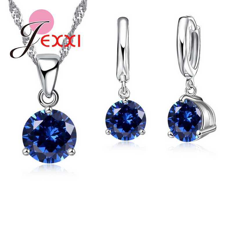 JEXXI New 2018 Crystal Necklaces Set 8 Colors S90 Silver Color Pendants Stud Earring Sets Women Cubic Zircon Jewelry