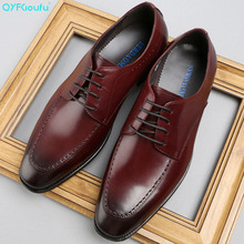 QYFCIOUFU Brand Spring And Autumn Men Business Casual suit shoes Genuine Leather Shoes British Fashion Wedding Dress