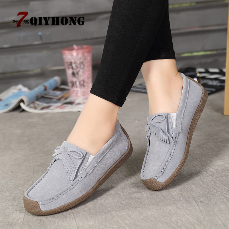 QIYHONG 2018 Autumn Women Flats   Leather     Suede   Slip On Fringe Loafers Shoes Ballet Flats Cowhide Flexible Fur Boat Oxford Shoes