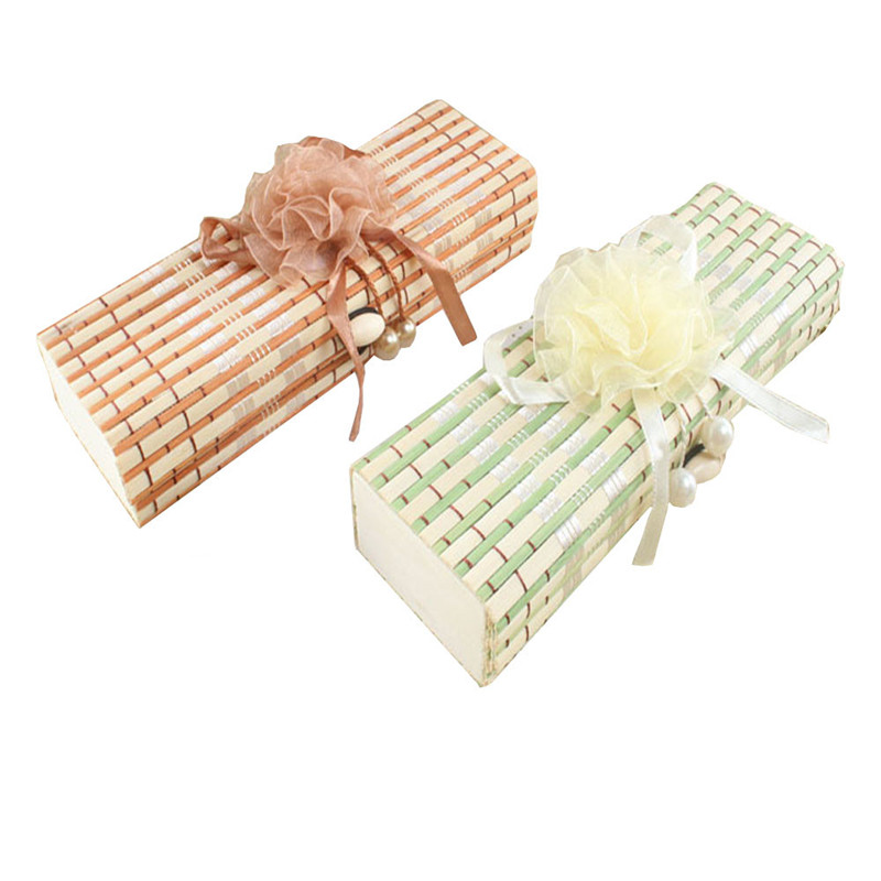 Large capacity creative bamboo stationery bowknot pencil box box jewelry box with retail package