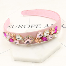 Fashion Rhinestone Headband Wide Pink Silk Crystal Luxury Gems Hair Bands Hair Accessory Hair Jewelry Gift 297