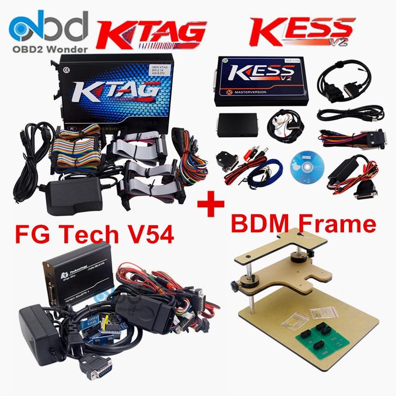 Цена за DHL доставка Новый KESS V2 V2.32 + KTAG V2.13 BDM Рамка программист и FGTech Galletto 4 V54 полной Адаптеры ЭКЮ чип-тюнинг без маркеров