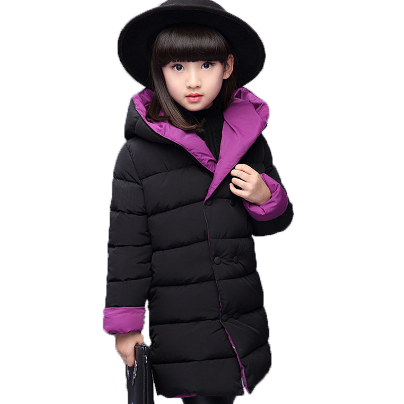 Girl In Winter With Iong Coat Of Cotton Jacket Jacket Hooded On Both Sides To Wear Coat Park Girl With Thick Snow Child The New