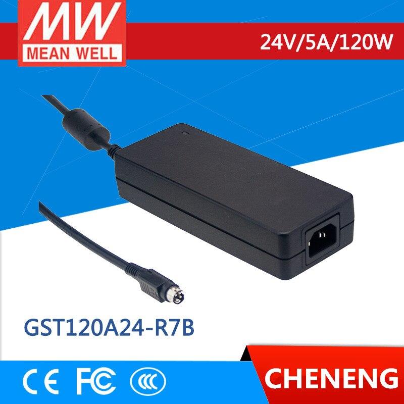 MEAN WELL original GST120A24-R7B 24V 5A meanwell GST120A 24V 120W AC-DC High Reliability Industrial Adaptor 1mean well original gsm160a24 r7b 24v 6 67a meanwell gsm160a 24v 160w ac dc high reliability medical adaptor