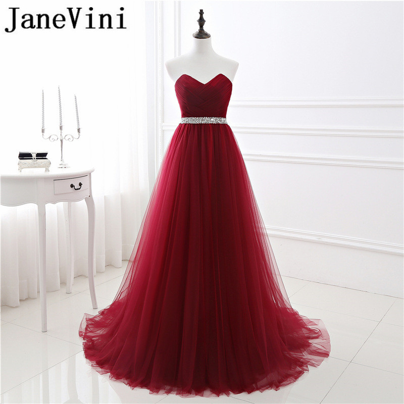 JaneVini Burgundy Long   Bridesmaid     Dresses   Women Wedding A-Line Tulle Sweetheart Sequins Backless Floor Length Vestiti Damigelle