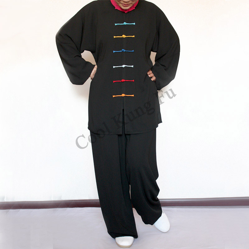 Tai Chi Clothing Kung Fu Clothes Taichi Uniform   Seven Color Buttons Tai Chi Clothes One Set