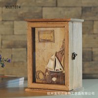European Style Wooden Box Storage Box CD Washed White Home Furnishing Decorative Wall MA07074