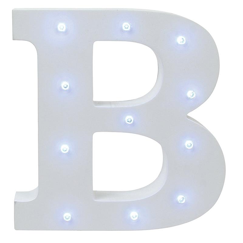 Ζεστό λευκό ξύλινο γράμμα LED Marquee Sign - Φωτιστικό νύχτας - Φωτογραφία 4