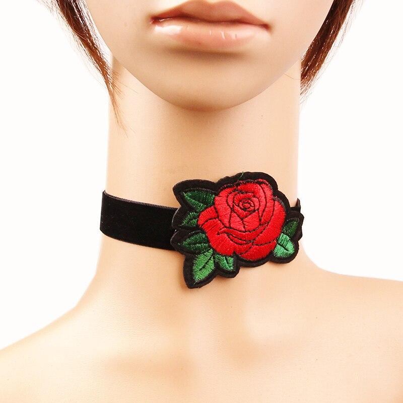 Valentine Cadeau Petite Amie Bande de Velours Noir Collier Avec Big Red Rose Conception Mère de Jour Bijoux Dame Pas Cher Chinois Produits