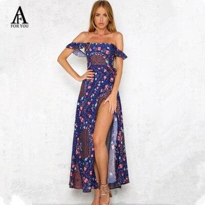 c8e624e99613 2017 Off shoulder floral print cotton summer dress Women purple maxi dress  split boho beach dress backless party dress vestidos-in Dresses from  Women s ...