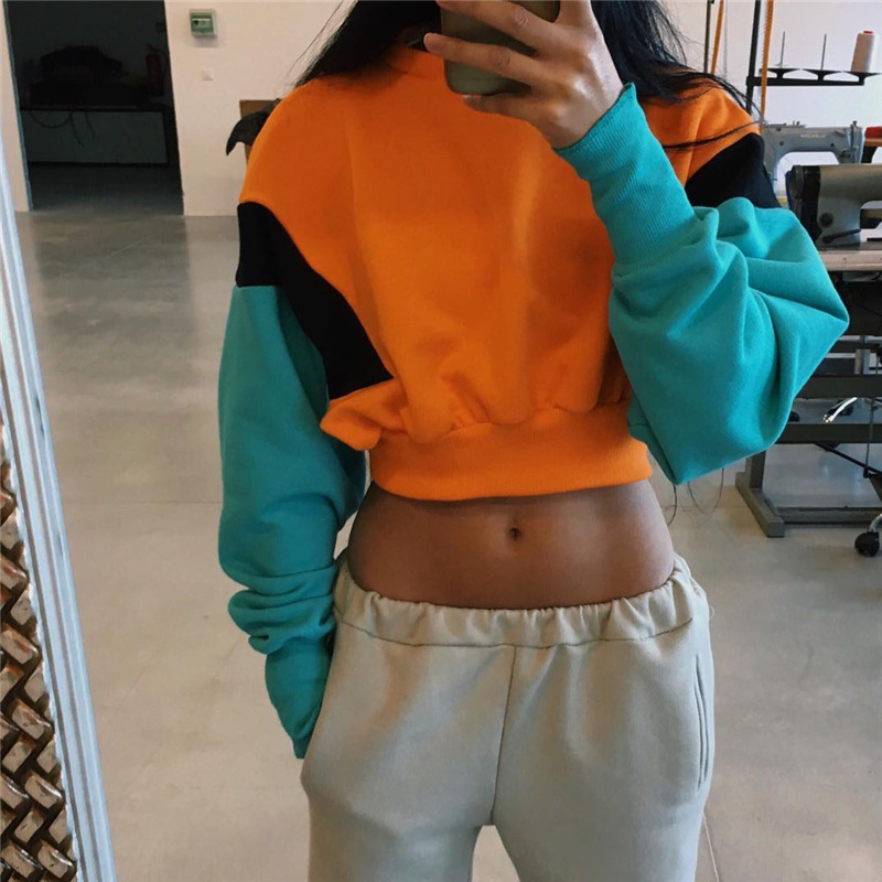 2018 New Women Spring Autumn Cute Pinkycolor Orange Hoodies Long Sleeve Loose Crop Top Sweatshirt Casual Patchwork Clothing
