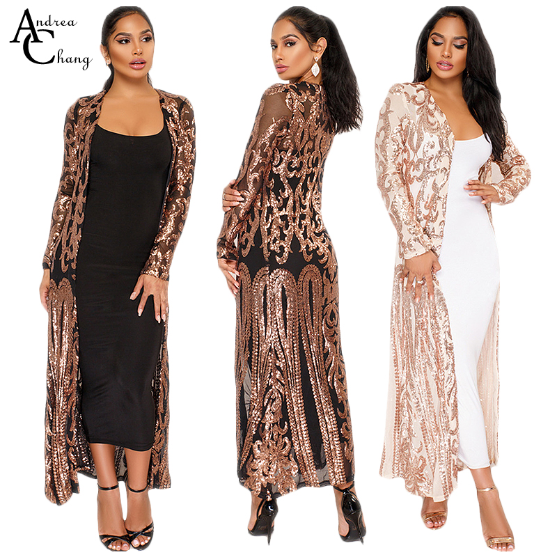 Beading Spring Beige Trench Vintage Black Summer Silver Sequin X-Long Paisley Open-Stitch