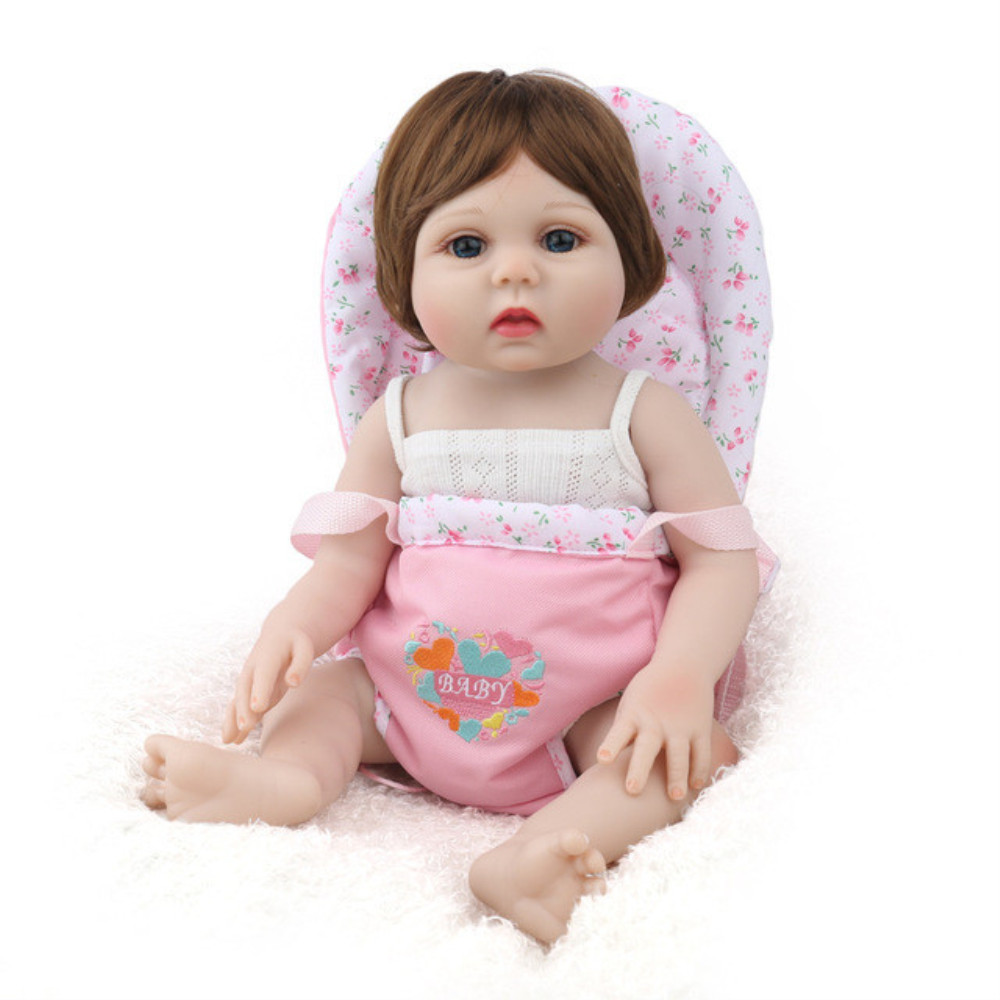 NPK BONECA Reborn Bebê Menina Cheia de silicone Vinil bonecas brinquedos para as crianças Presente de Aniversário Lucy Marrom Peruca de Cabelo bebe s reborn boneca - 2