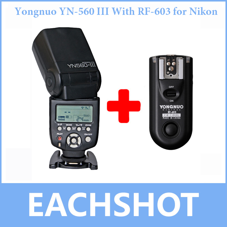 For Nikon Yongnuo YN-560 III With RF-603 Single Transmitter,YN560III Ultra-long-range Wirelss flash Speedlite RF603 Trigger yongnuo yn 560 iii 2 4g hss 1 8000s radio flash speedlite and rf603n ii wireless trigger single receiver for nikon kit