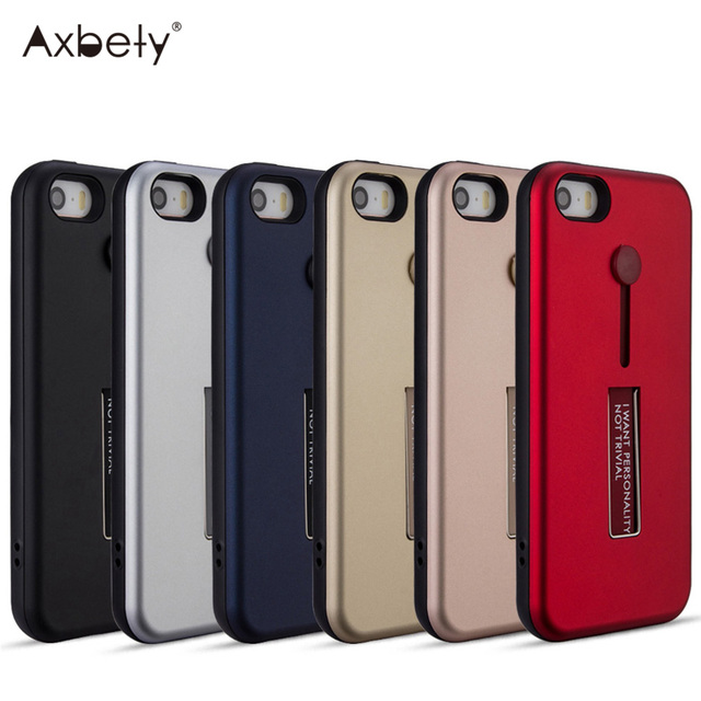 wholesale dealer d0711 21e60 US $2.53 30% OFF Axbety Fashion 2 in 1 Kickstand Cover For iPhone 5s Ring  Holder Belt Protection Case For iPhone 5 SE Shockproof Cell Phone Cases-in  ...