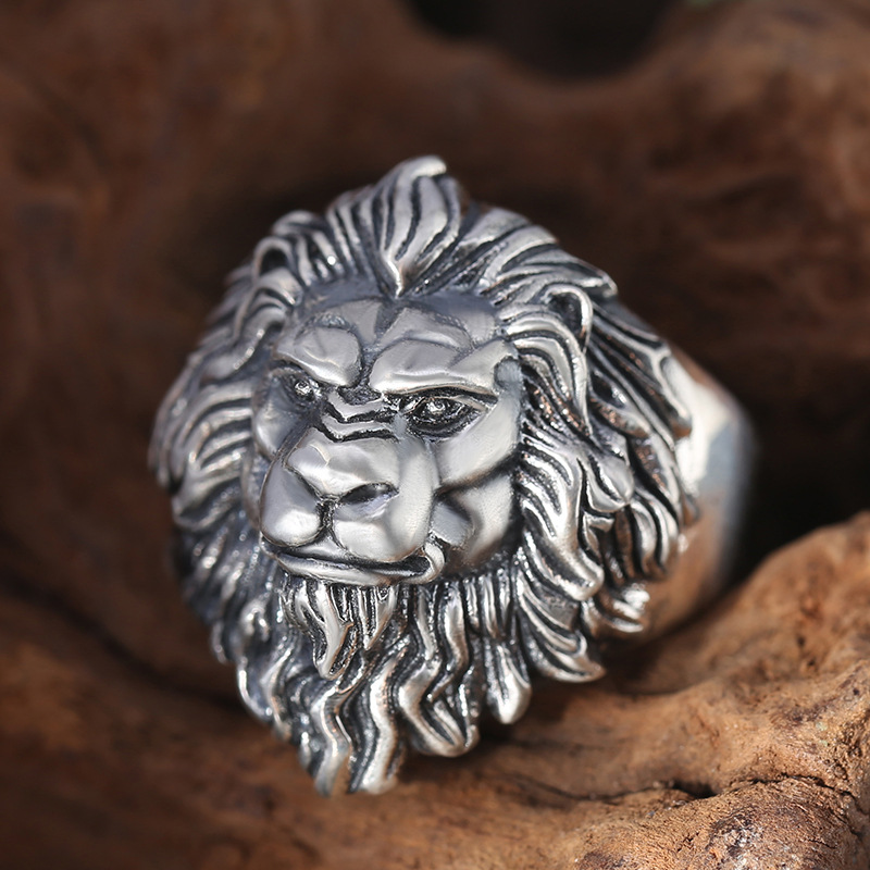 925 argent sterling bijoux de mode hommes personnalité anneaux vintage Thai argent lion tête réglable anneau
