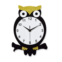 MEYA Acrylic Creative Owl Wall Clock ,Wall Mounted Decorative Quite Owl Wall Clock Stickers