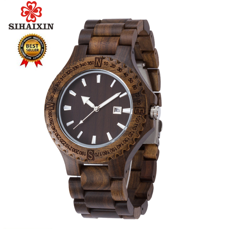 SIHAIXIN Wood Watch For Men With Black Sandalwood Strap Quartz Movement Watches Date Design Vintage Wooden