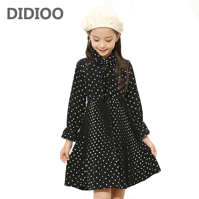 School Children Princess Party Dresses For Girls Preppy Style Polka Dot Girls Dresses Autumn Long Sleeve Kids Evening Dresses 12 belababy baby girls preppy style dress princess children autumn double breasted cute kids casual long sleeve dresses for girls