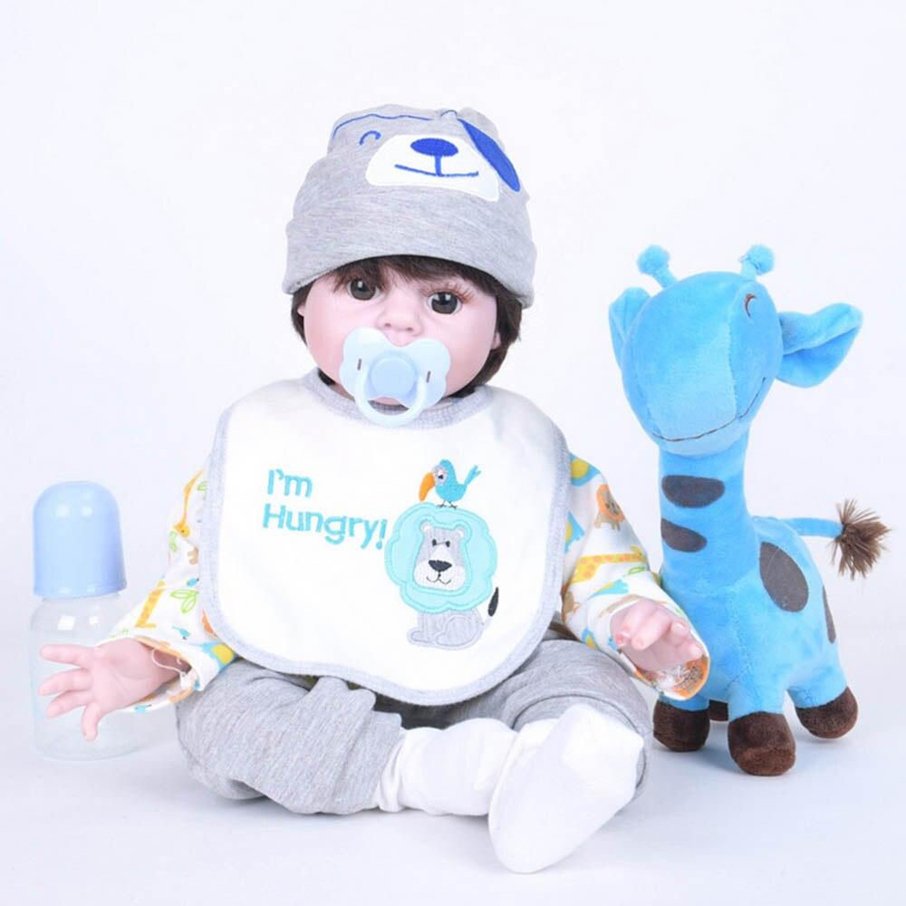 55cm Silicone Soft Realistic Reborn Baby Doll 22 Inch Lifelike Girl Newborn Babies Cloth Body Toy Kids Birthday Xmas Gift цена