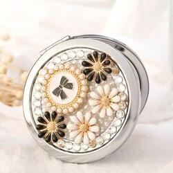 Bling горный хрусталь бантом цветок, Мини Красота карман компактное зеркало для нанесения макияжа, свадьба новый вечерние сувениры сувенир