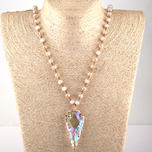 Moodpc Fashion Bohemian Jewelry Glass Crystal Rosary Chain Crystal Arrowhead Pendant Necklaces