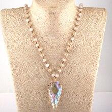 Moodpc Fashion Bohemian Jewelry Glass Crystal Rosary Chain Crystal Arrowhead Pendant Necklaces