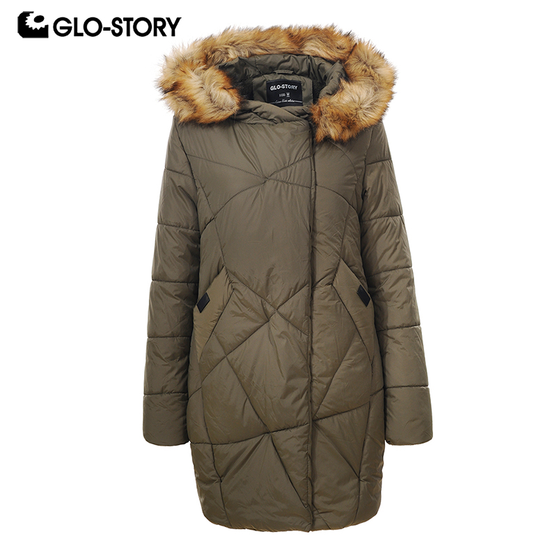 GLO-STORY 2018 Women Korean Loose Waist   Parkas   Ladies Winter Thick Warm Padded Jackets and Coats with Faux Fur Adjustable Hoodie