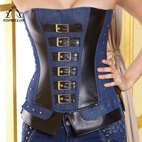 TOPMELON Denim Corset Blue Military Style Corselet Rivets Buckles Decorated Costume Ladies Clothing Punk Sexy Tops New Fashion