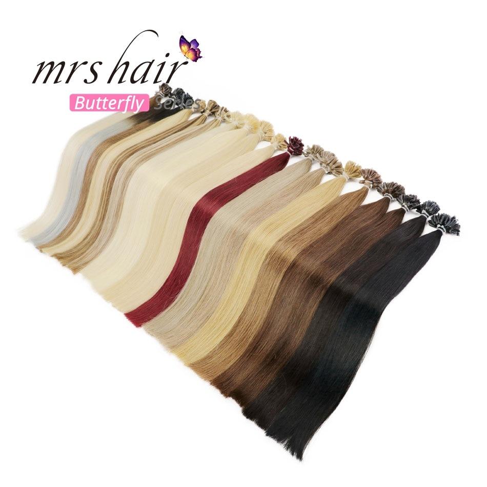 "MRS HAIR 1g/pc 14"" 16"" 20"" 24"" Fusion Hair Extensions Straight Machine Made Remy Nail Hair Keratin Pre Bonded Human Hair 50pcs(China)"
