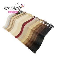 "MRS HAIR 1g/pc 14"" 16"" 20"" 24"" Fusion Hair Extensions Straight Machine Made Remy Nail Hair Keratin Pre Bonded Human Hair 50pcs"
