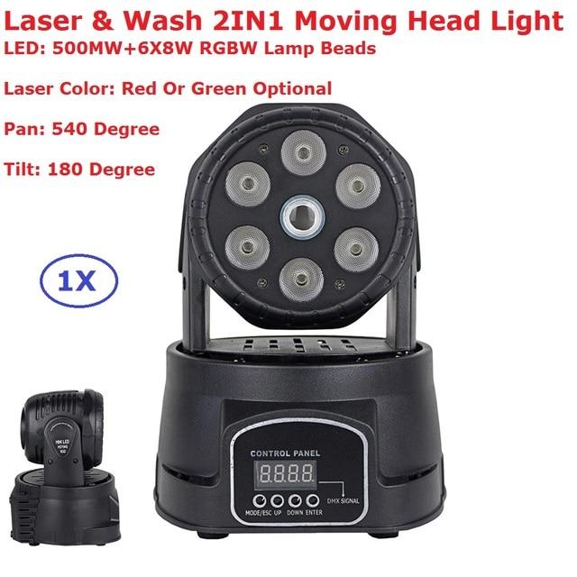 1 piezas LED cabeza móvil luz 6X8 W Mini lavado etapa fiesta de Navidad muestra equipos con 500 MW verde/láser rojo nuevo diseño