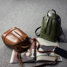 Кожаный рюкзак женские зеленые Коричневые Серые Хобо Винтаж ретро леди кожаная сумка маленький Для женщин мини-рюкзак Mochila Feminina школы