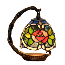 Antique European Style Creative Stained Glass Metal Edison LED Desk Table Lamp Light Cafe Restaurant Decoration Lighting