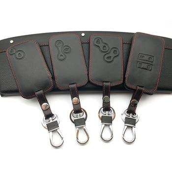 Housse de clé de voiture en cuir housse de protection Style voiture pour Renault Kadjar Clio Megane 2 3 4 Koleos Logan étui de carte scénic porte-clés étuis à clés