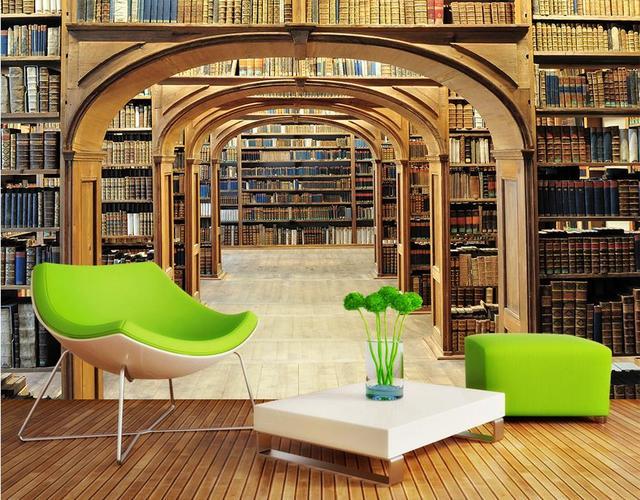 benutzerdefinierte 3d wallpaper f r w nde rollen bibliothek regale 3d kulissen 3d fototapete. Black Bedroom Furniture Sets. Home Design Ideas
