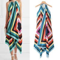 Summer Rainbow Asymmetrical Maxi Chiffon Dress Sexy Halter Beach Dresses Women 2019 Woman New Fashion