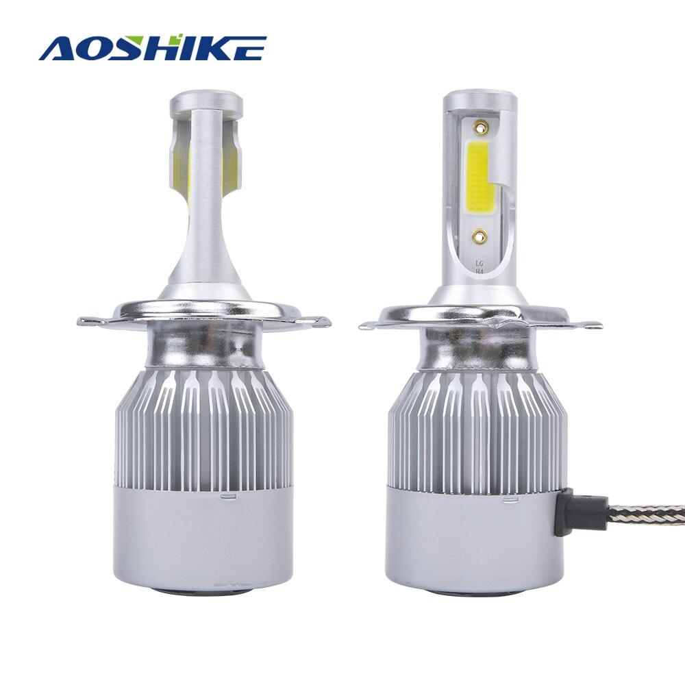 AOSHIKE 2PC H8 H11 Lamp H4 C6 LED Car Headlight H7 H1 H3 Bulbs For Auto H27 880 HB3 HB4 LED 12V 60W 8000LM 6000K lED Automotive