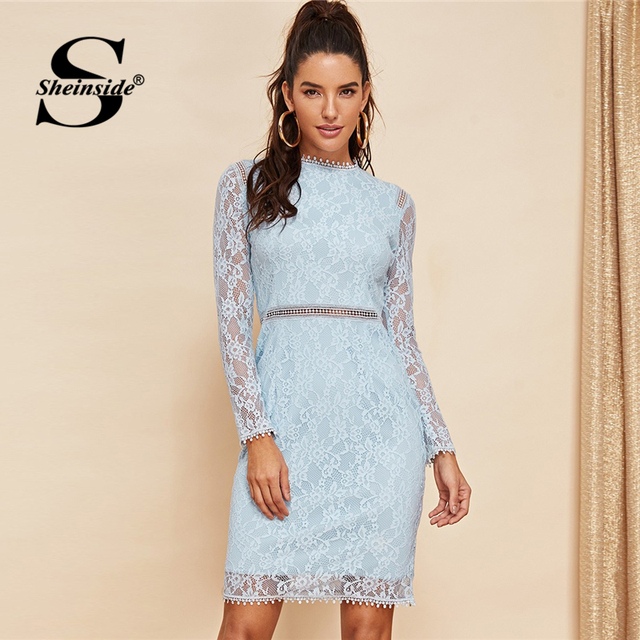 Zurück Hülse 2019 Sheinside Kleider Spitze Solide Elegante Damen Bodycon Stretchy Kleid Midi Hohe Taille Kontrast Zip Frauen doxeBQrCW