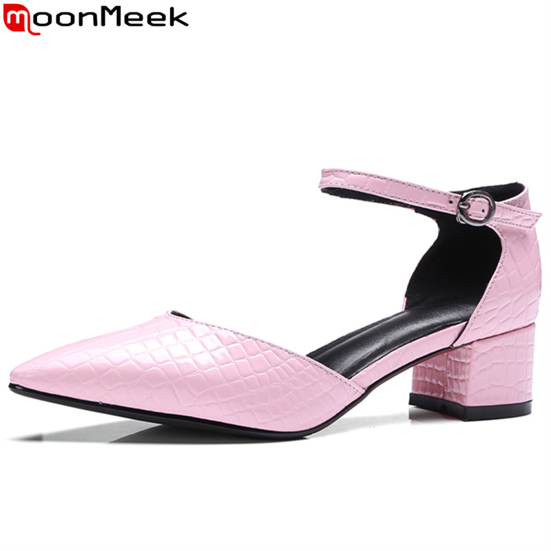 ФОТО MoonMeek fashion new arrive genuine leather ladies pumps pointed toe buckle summer shoes med heel party shoes big size 34-43