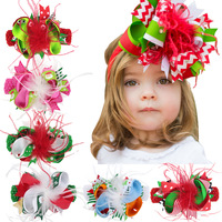 50PCS/LOT New Feather Christmas Colorful Ribbon Bows With Hair Clips Boutique Hairpins kids Hair Accessories Clip DIY Headbands