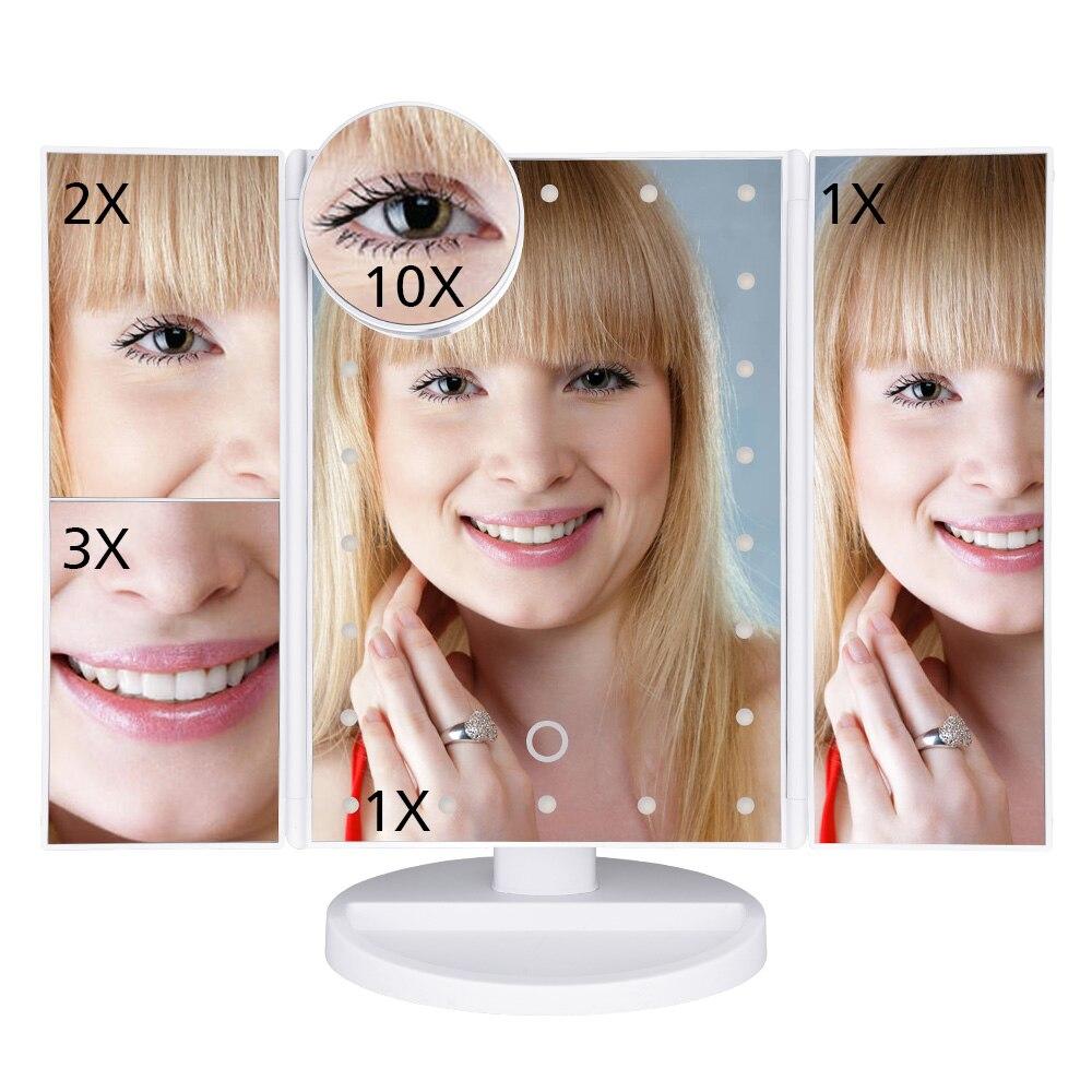 Espejo de maquillaje pantalla táctil LED 22 de mesa de luz de maquillaje de escritorio 1X/2X/3X/10X lupa espejos vanidad 3 plegable ajustable espejo