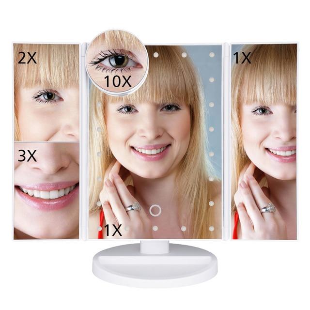 Makeup Mirror LED Touch Screen 22 Light Table Desktop Makeup 1X/2X/3X/10X Magnifying Mirrors Vanity 3 Folding Adjustable Mirror