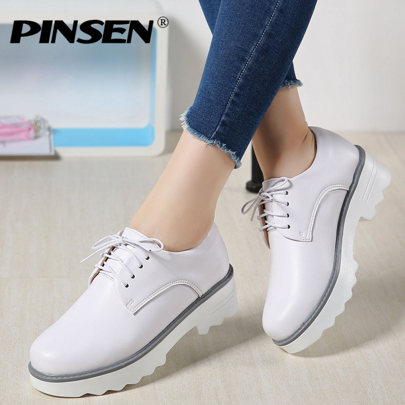 PINSEN Spring Women Flat Platform Shoes Oxfords Genuine Leather Lace Up Flats Shoes Female Casual Creepers Heels Ladies Shoes keloch genuine leather women platform brogue shoes for women british retro lace up oxfords female casual flats chaussure femme