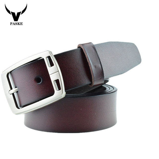 2016 New  Men's Waistband Casual Dress Leather Pin Metal Buckle Belt Black Yellow Strap Genuine Leather Belt correas para hombre