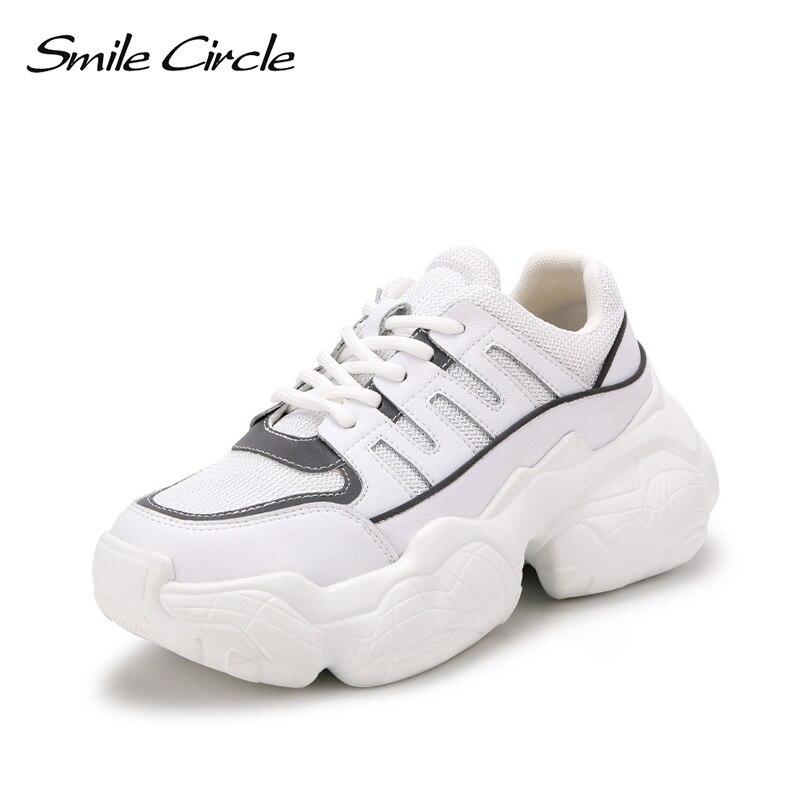Uśmiech koło trampki damskie płaskie buty wiosna nowe oryginalne skórzane na co dzień oddychająca siatka damskie platformy buty studenckie w Damskie buty z gumową podeszwą od Buty na  Grupa 3