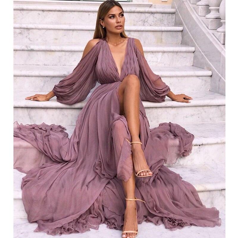 Multiflora Chiffon Maxi Dress Long Sleeve Boho Deep V Neck Dress Women Summer 2019 Lantern Sleeve Bohemia Sundresses