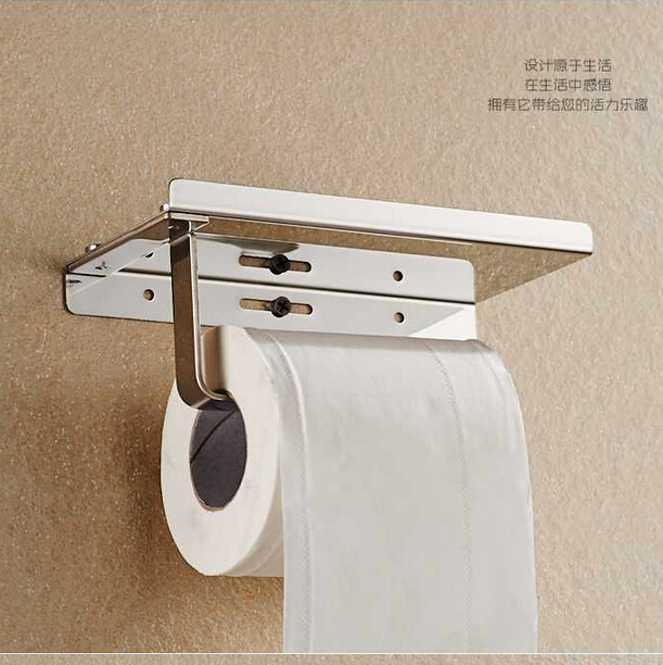 Stainless Steel 304 Bathroom Paper Phone Holder With Shelf  Mobile Phones Towel Rack Toilet Paper Holder  Tissue Boxes K-H05 free shipping 304 stainless steel towel shelf towel bar towel rack bathroom rack hanging toilet bathroom shelf makeup shelf rack