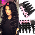 Brazilian Virgin Hair Loose Wave With Closure GEM Beauty Hair Brazilian Hair Weave Bundles Loose Wave Human Hair With Closure 1B